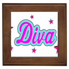 Pink Diva Framed Ceramic Tile