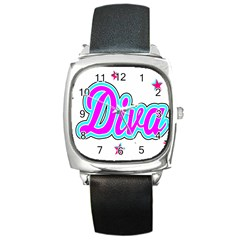 Pink Diva Square Leather Watch