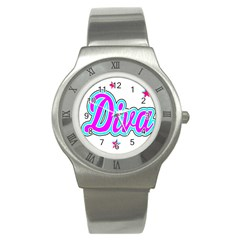 Pink Diva Stainless Steel Watch (Slim)