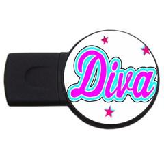 Pink Diva 4GB USB Flash Drive (Round)