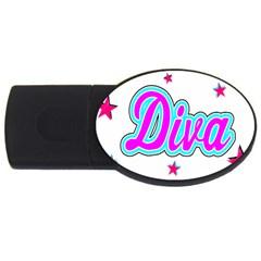 Pink Diva 4gb Usb Flash Drive (oval)