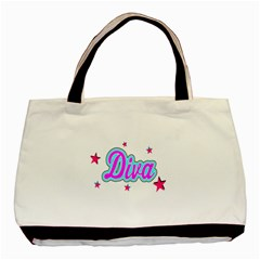 Pink Diva Twin-sided Black Tote Bag
