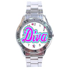 Pink Diva Stainless Steel Watch