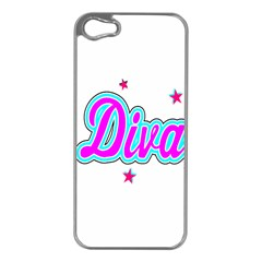 Pink Diva Apple iPhone 5 Case (Silver)