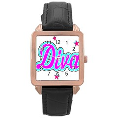 Pink Diva Rose Gold Leather Watch