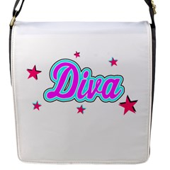 Pink Diva Flap Closure Messenger Bag (Small)
