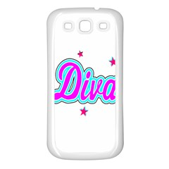 Pink Diva Samsung Galaxy S3 Back Case (White)