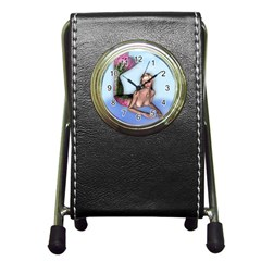 Mermaid On The Beach Stationery Holder Clock