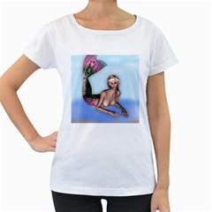 Mermaid On The Beach Women s Maternity T Shirt (white)