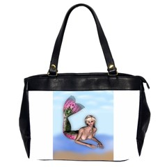 Mermaid on the beach Oversize Office Handbag (Two Sides)