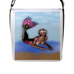 Mermaid On The Beach Flap Closure Messenger Bag (large)