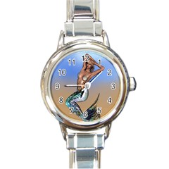 Sexy Mermaid On Beach Round Italian Charm Watch
