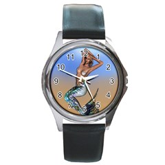 Sexy Mermaid On Beach Round Leather Watch (Silver Rim)