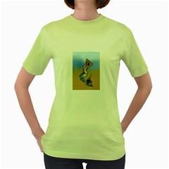 Sexy Mermaid On Beach Women s T-shirt (Green)
