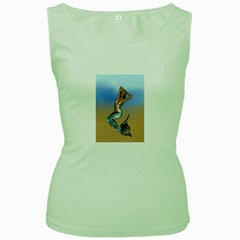 Sexy Mermaid On Beach Women s Tank Top (Green)