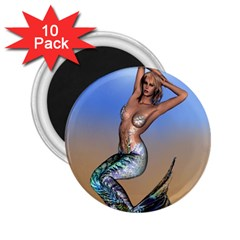 Sexy Mermaid On Beach 2.25  Button Magnet (10 pack)
