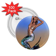 Sexy Mermaid On Beach 2.25  Button (100 pack)