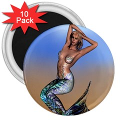 Sexy Mermaid On Beach 3  Button Magnet (10 pack)