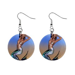 Sexy Mermaid On Beach Mini Button Earrings