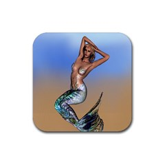 Sexy Mermaid On Beach Drink Coasters 4 Pack (Square)