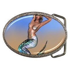 Sexy Mermaid On Beach Belt Buckle (oval)