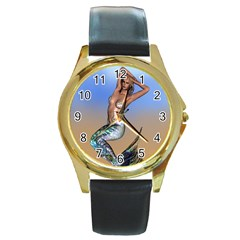 Sexy Mermaid On Beach Round Leather Watch (gold Rim)