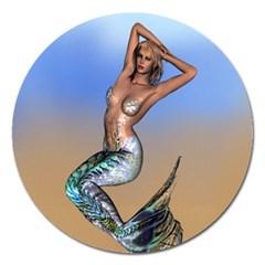 Sexy Mermaid On Beach Magnet 5  (Round)