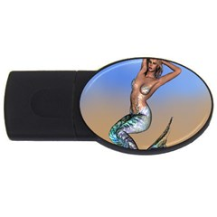 Sexy Mermaid On Beach 1GB USB Flash Drive (Oval)