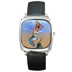Sexy Mermaid On Beach Square Leather Watch