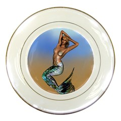 Sexy Mermaid On Beach Porcelain Display Plate