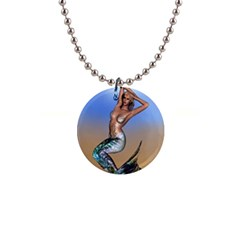 Sexy Mermaid On Beach Button Necklace
