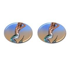 Sexy Mermaid On Beach Cufflinks (oval)