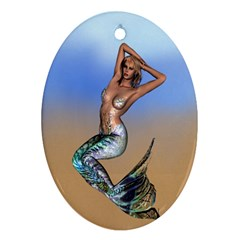 Sexy Mermaid On Beach Oval Ornament (two Sides)