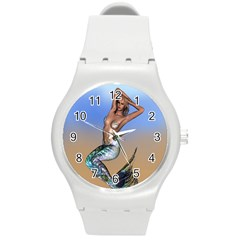 Sexy Mermaid On Beach Plastic Sport Watch (Medium)