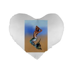 Sexy Mermaid On Beach 16  Premium Heart Shape Cushion