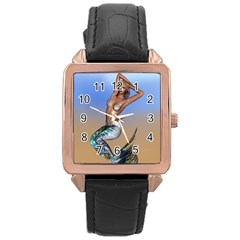 Sexy Mermaid On Beach Rose Gold Leather Watch