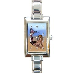 Mermaid On The Beach  Rectangular Italian Charm Watch