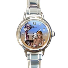 Mermaid On The Beach  Round Italian Charm Watch
