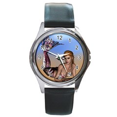 Mermaid On The Beach  Round Leather Watch (Silver Rim)