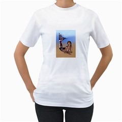 Mermaid On The Beach  Women s Two Sided T Shirt (white)