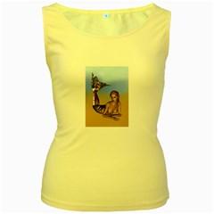 Mermaid On The Beach  Women s Tank Top (Yellow)