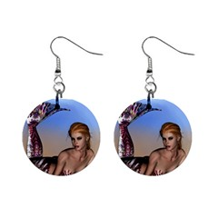 Mermaid On The Beach  Mini Button Earrings