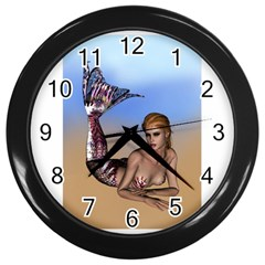 Mermaid On The Beach  Wall Clock (Black)