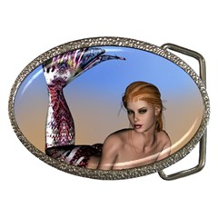 Mermaid On The Beach  Belt Buckle (oval)