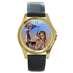 Mermaid On The Beach  Round Leather Watch (gold Rim)