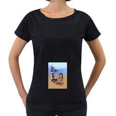 Mermaid On The Beach  Women s Maternity T-shirt (Black)