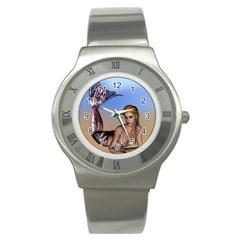 Mermaid On The Beach  Stainless Steel Watch (slim)