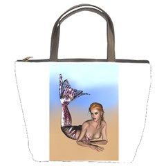 Mermaid On The Beach  Bucket Handbag