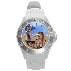 Mermaid On The Beach  Plastic Sport Watch (Large)