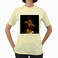 Miss Bunny In Red Lingerie Women s T-shirt (Yellow)